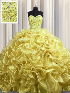 Sumptuous Pick Ups With Train Ball Gowns Sleeveless Gold Sweet 16 Dresses Court Train Lace Up