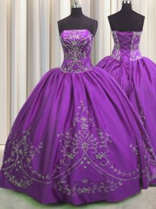 Flare Embroidery Floor Length Ball Gowns Sleeveless Eggplant Purple Sweet 16 Dress Lace Up