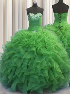 Lovely Scalloped Visible Boning Apple Green Sleeveless Organza Lace Up Quinceanera Dresses for Military Ball and Sweet 16 and Quinceanera
