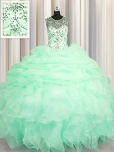 See Through Apple Green Lace Up Scoop Beading and Ruffles and Pick Ups 15th Birthday Dress Organza Sleeveless