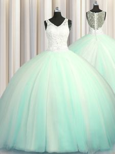 Big Puffy Zipper Up Sleeveless With Train Beading and Appliques Zipper Sweet 16 Dress with Apple Green Brush Train