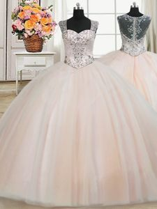 Free and Easy See Through Back Zipper Up Straps Cap Sleeves Tulle 15 Quinceanera Dress Beading Zipper