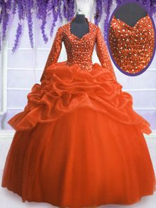 Orange Red Ball Gowns Organza V-neck Long Sleeves Sequins and Pick Ups Floor Length Zipper Quinceanera Dresses