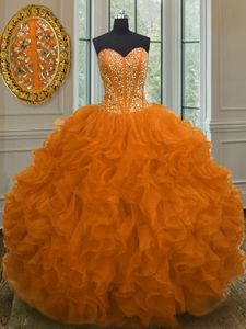 Fashionable Organza Sweetheart Sleeveless Lace Up Beading and Ruffles Quinceanera Gowns in Orange Red