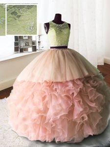 Fabulous Scoop Sleeveless Organza and Tulle and Lace 15 Quinceanera Dress Beading and Lace and Ruffles Brush Train Zipper
