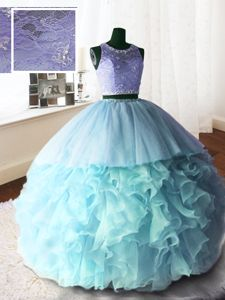 Baby Blue Scoop Neckline Beading and Lace and Ruffles Vestidos de Quinceanera Sleeveless Zipper