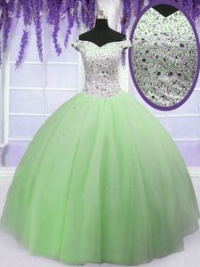 Ball Gowns 15 Quinceanera Dress Apple Green Off The Shoulder Tulle Short Sleeves Floor Length Lace Up