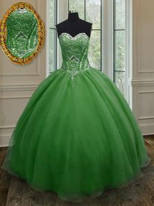 Floor Length Ball Gowns Sleeveless Dark Green 15th Birthday Dress Lace Up