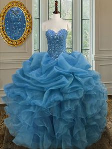 Stunning Sweetheart Sleeveless Organza Vestidos de Quinceanera Beading and Ruffles Lace Up