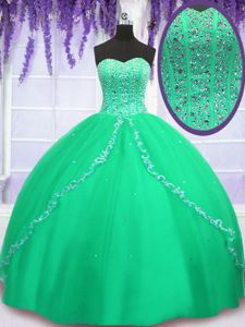 Admirable Off the Shoulder Tulle Short Sleeves Floor Length Sweet 16 Dresses and Beading