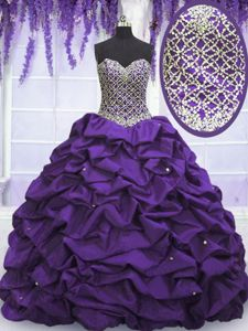 Eggplant Purple Sweetheart Neckline Beading and Sequins 15 Quinceanera Dress Sleeveless Lace Up