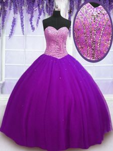 Latest Eggplant Purple Tulle Lace Up 15th Birthday Dress Sleeveless Floor Length Beading