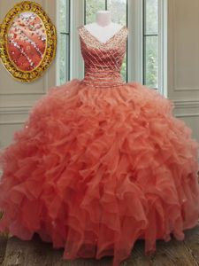 Traditional Organza V-neck Sleeveless Zipper Beading and Ruffles Sweet 16 Dress in Orange Red