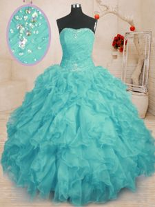 Fantastic Dark Green Ball Gown Prom Dress Military Ball and Sweet 16 and Quinceanera and For with Beading Sweetheart Sleeveless Lace Up
