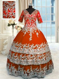 Orange Red Ball Gowns V-neck Half Sleeves Tulle Floor Length Zipper Beading and Appliques and Ruffles Vestidos de Quinceanera