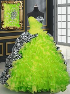 Custom Fit Yellow Green Organza and Printed Lace Up Sweet 16 Dresses Sleeveless With Brush Train Beading and Ruffles and Pattern