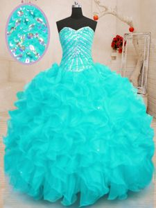 Yellow Green Sleeveless Organza and Printed Brush Train Lace Up Sweet 16 Dresses for Military Ball and Sweet 16 and Quinceanera