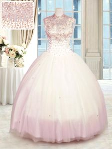 Tulle High-neck Sleeveless Zipper Beading 15 Quinceanera Dress in Baby Pink