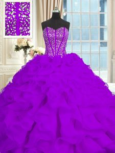 Eye-catching With Train Eggplant Purple Quince Ball Gowns Organza Brush Train Sleeveless Beading and Ruffles