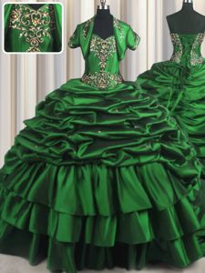 Pick Ups With Train Ball Gowns Sleeveless Dark Green Ball Gown Prom Dress Brush Train Lace Up