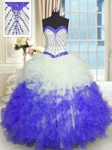 Gorgeous Blue And White Ball Gowns Beading and Ruffles Sweet 16 Quinceanera Dress Lace Up Organza Sleeveless Floor Length