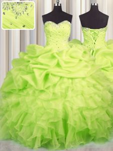 Extravagant Yellow Green Sweetheart Lace Up Beading and Ruffles and Ruching and Pick Ups Quinceanera Gowns Sleeveless