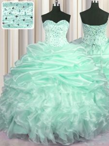 Suitable Zipper Up Sleeveless Floor Length Beading and Appliques Zipper Sweet 16 Dress with Apple Green