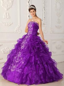 Strapless Satin and Organza Embroidery Dress for Quinceanera in Purple