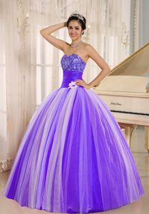 New Style Purple Strapless Sweet Sixteen Quinceanera Dress in Tulle