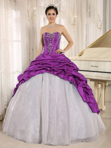 Purple and White Sweetheart Quinceanera Dresses with Embroidery