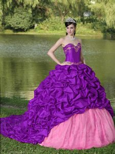 Fabulous Purple and Pink Pick-ups Sweet Sixteen Quinceanera Dresses with Train