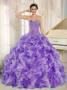 Exclusive Purple and White Ruffled Skirt Quinceanera Gown Dresses with Beading