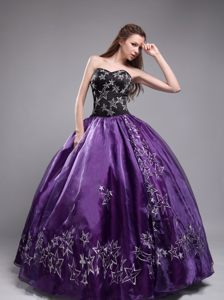 Purple and Black Classic Dress for Quinceanera with Sweetheart Neck and Stars Decorate