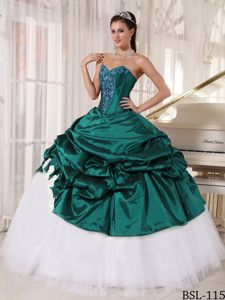 Sweetheart Taffeta and Tulle Quinceanera Gown Dress with Appliques