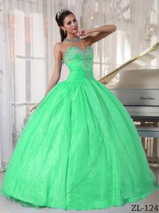 Sweetheart Taffeta and Organza Appliqued Quinceanera Dress in Green