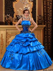 Blue Straps Floor-length Appliqued Quinceanera Gown Dress in Taffeta