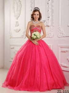 Hot Pink Sweetheart Beaded Quinceanera Dress in Satin and Organza