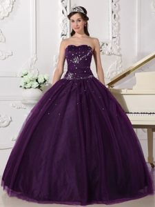 Dramatic Dark Purple Sweetheart Tulle Quinceanera Dress with Beading