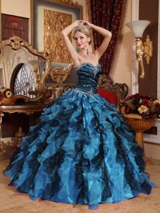 Multi-color Sweetheart Floor-length Dress for Quinceanera with Ruffles