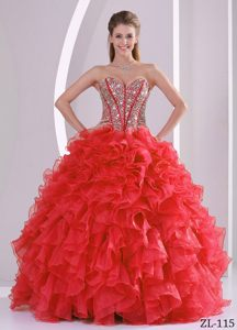 Sophisticated Ball Gown Sweetheart Beaded Sweet 16 Dresses with Ruffles