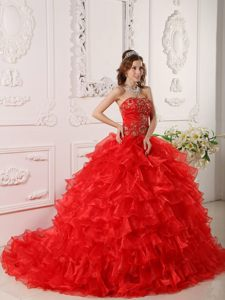 Dramatic Organza Ruffles And Embroidery Dresses for Quinceanera in Red