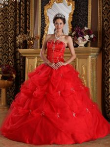 Good Quality Floor-length Tulle Dress for Quinceanera with Pick-ups in Red