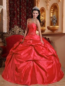 Sweet Coral Red Ball Gown Strapless Floor-length Taffeta Sweet 16 Dresses