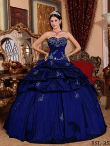 Dark Blue Ball Gown Sweetheart Quinceanera Dress with Pick-ups and Appliques