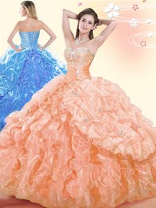 Noble Floor Length Lace Up Vestidos de Quinceanera Apple Green and In for Military Ball and Sweet 16 and Quinceanera with Beading and Ruffles and Pick Ups