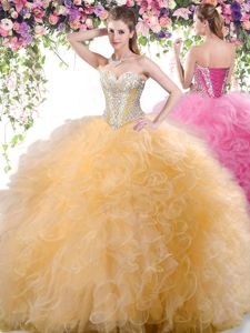 Gold Tulle Lace Up Quince Ball Gowns Sleeveless Floor Length Beading and Ruffles