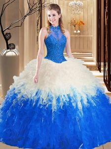 Blue And White Backless Ball Gown Prom Dress Lace and Appliques and Ruffles Sleeveless Floor Length