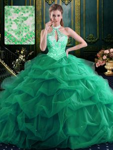 Graceful Halter Top Sleeveless Beading and Ruffles and Pick Ups Lace Up Ball Gown Prom Dress