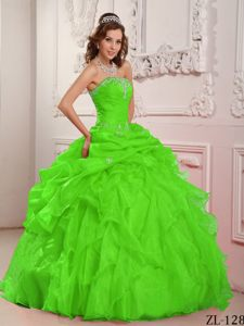 Ruffled Spring Green Strapless Organza Quinceanera Dress Beaded on Sale