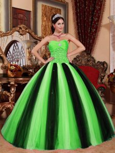 Traditional 2014 Multi-colored Tulle Sweetheart Beading Quinces Dresses